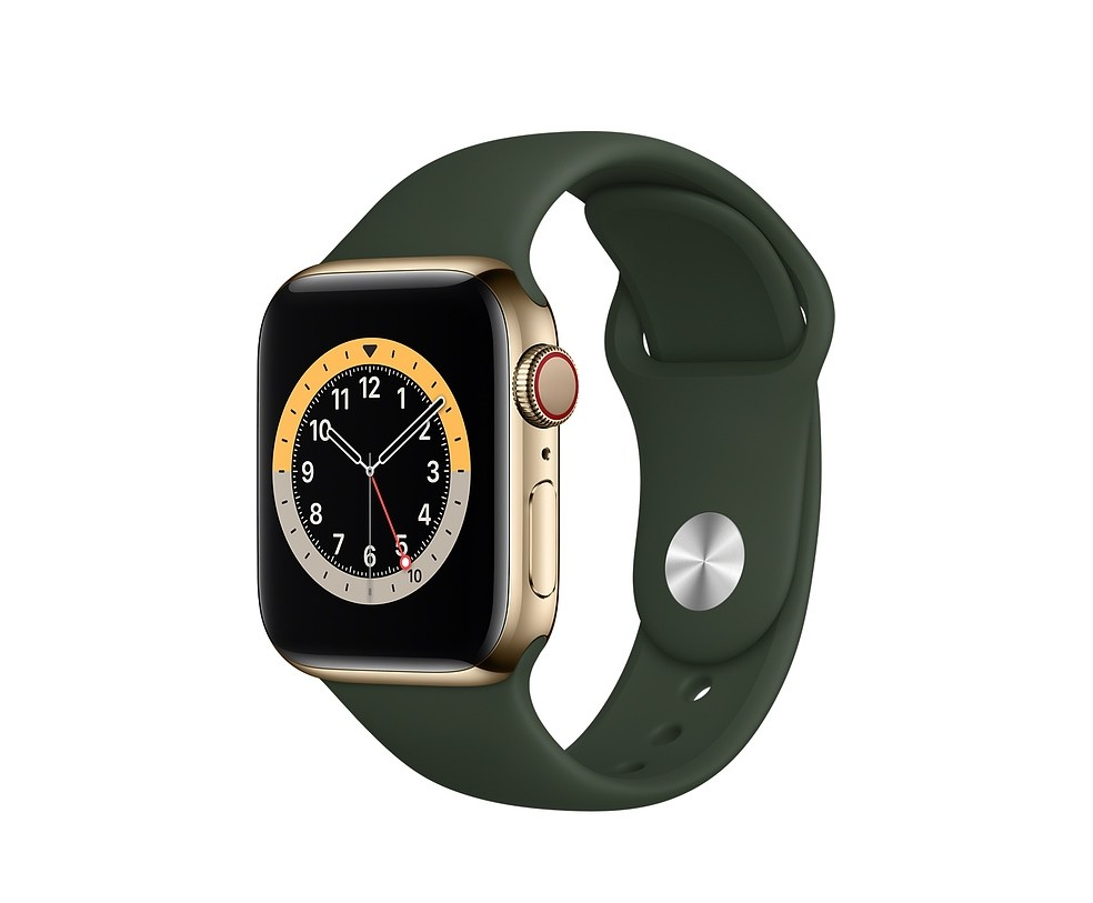WATCH SERIE 6 CELL 40MM ACCIAIO ORO - CINTURINO SPORT VERDE INVERNESS