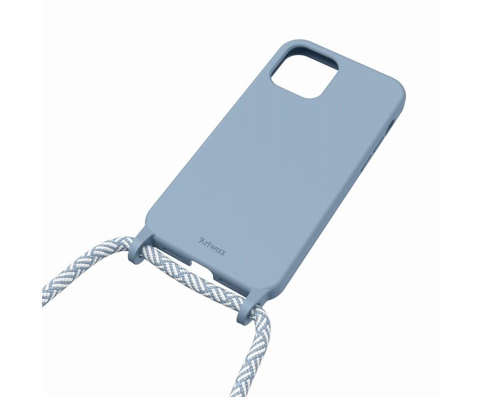 HANG ON - CUSTODIA BLU NORDICO CON CORDINO PER IPHONE 12 MINI